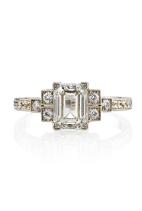 "Brides.com: . Style JOLA21-2, 1.34ct emerald-cut diamond set in 18K white gold hand crafted ""Single Stone"" mounting, $9,280, Single Stone"