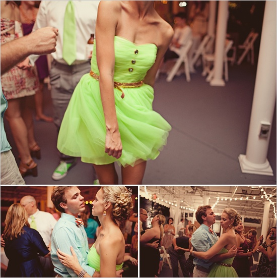 Love the neon green reception dress. Be bold, ladies. Do it your way. :)