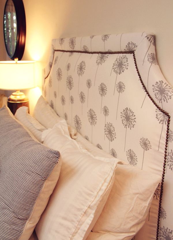 DIY Nailhead Trim Headboard | Lovely Indeed  *no need for curve....squared off with upholstery tacks