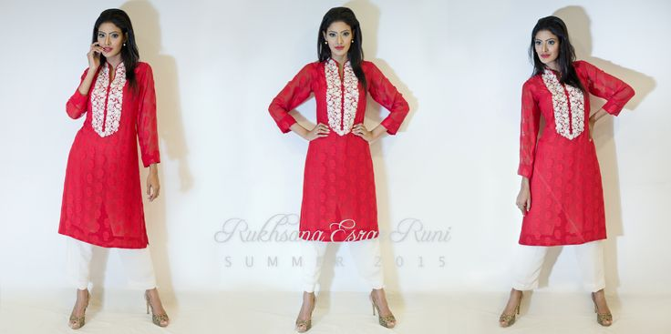 from Rukhsana Esrar Runi RTW Spring/Summer Collection 2015 #red #white #kameez #pret #salwarkameez #readytowear #rtw #casual #bengali #bangladeshi #desi #casualwear #designer #RukhsanaEsrarRuni