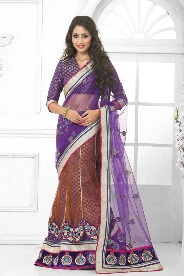 Blue Orange Net Brocade Saree with Brocade Blouse Price:-£65.00 Blue and orange net and brocade saree with blue brocade blouse.  Embellished with embroidered, resham, zari and stone.  Saree comes with v neck blouse.  It is perfect for casual wear, festival wear, party wear and wedding wear. http://www.andaazfashion.co.uk/blue-orange-net-brocade-saree-with-brocade-blouse-dmv8134.html