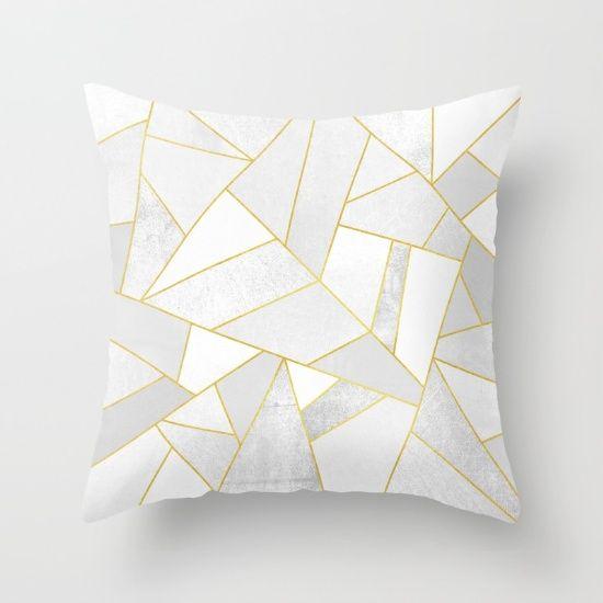 Modern home decor, geometric pillow. White Stone by Elisabeth Fredriksson