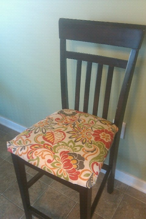 Beautiful Recover Kitchen Chairs With Outdoor Fabric. Holds Up Very Well With Kids!