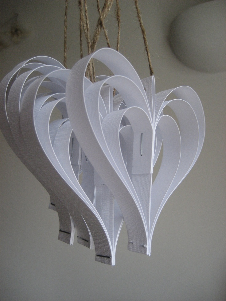 Christmas ornament - white paper hearts -holiday decoration- pack of 5. £9.00, via Etsy.