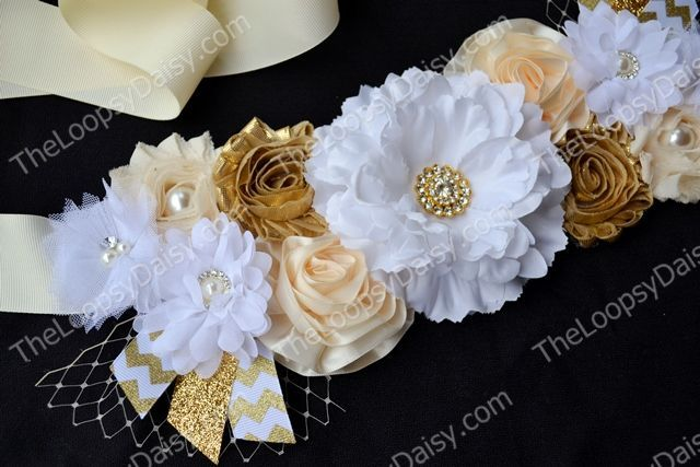 Gender Neutral Golden Fantasy Maternity Sash