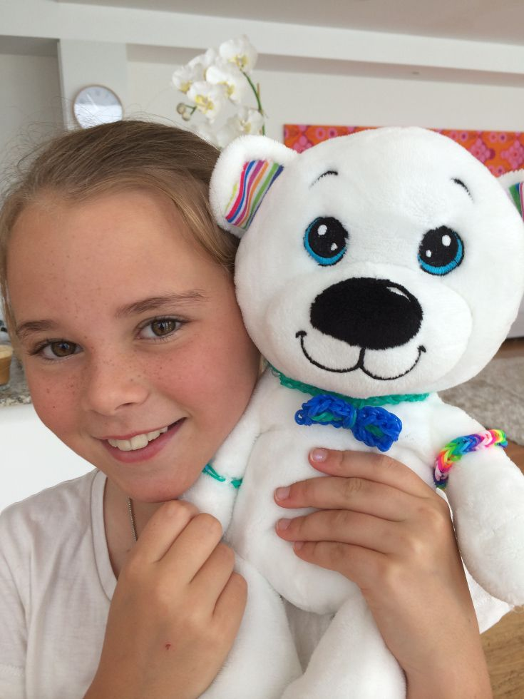 I love my Loomi Bear!  I have made him a bowtie and a couple of loom bracelets so far and one for me with the rainbow charm.   #loomibear #rainbowloomcharm #loombraceletstorage