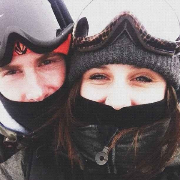Snowboarding couple