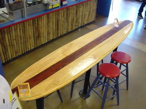 Surfboard repurposed into table top