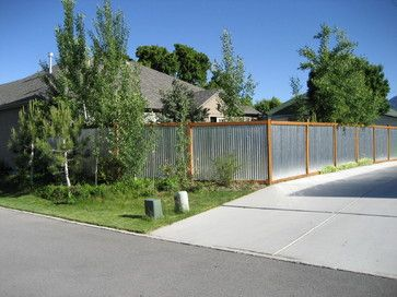 Contemporary Galvanized Sheet Metal Outdoor Design Ideas, Pictures, Remodel and Decor//I LOVE this fence.  I saw one the other day that was partial galvanized sheet metal and horizontal wooden slats on top