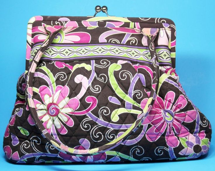Vera Bradley Alice Purple Punch Handbag Kiss Lock Quilted Shoulder Bag #VeraBradley #ShoulderBag
