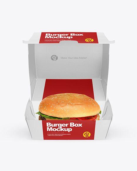 Burger Box Mockup – Front View (High-Angle Shot)