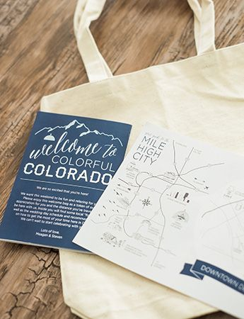 Wedding Welcome Bag Map & Weekend Itinerary - wedding guest favors & local goodies from Denver Colorado