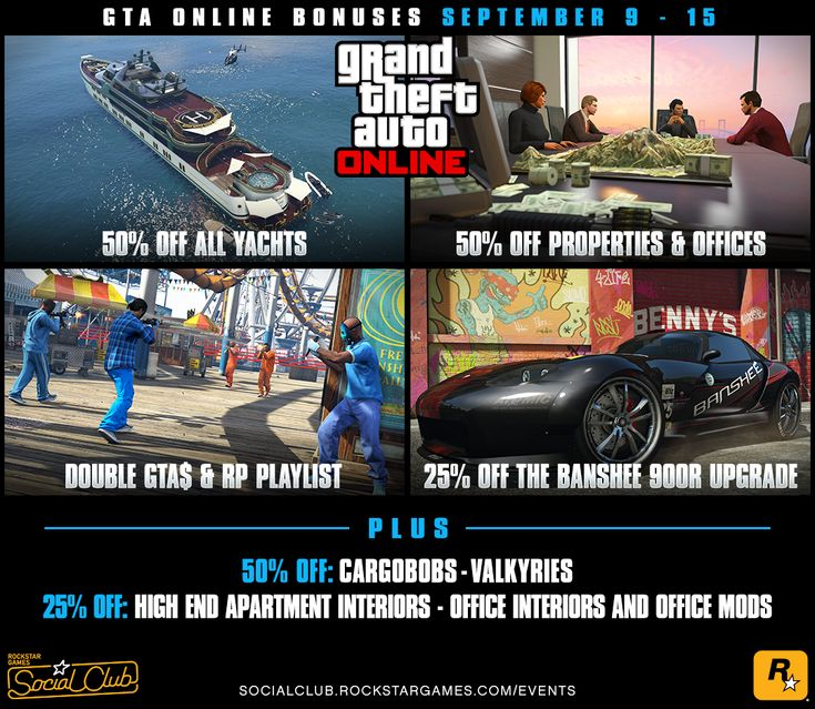 Rockstar Games Social Club - GTA Online Bonuses this Week: 50% Off All Yachts Properties and Offices  A Double GTA$ and RP Playlist (Sept. 9th #GrandTheftAutoV #GTAV #GTA5 #GrandTheftAuto #GTA #GTAOnline #GrandTheftAuto5 #PS4 #games