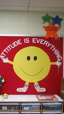 Bulletin Board Idea: Attitude is Everything!  We love this bulletin board for encouraging a positive attitude in the classroom. Idea Bulletin Board:  La actitud es todo! Nos encanta este tablón de anuncios para fomentar una actitud positiva en el aula.
