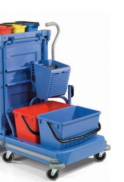 Detachable cart with side press wringer NCK 100: Detachable mopping trolley for flat and standard mop with 2 buckets and a side press wringer