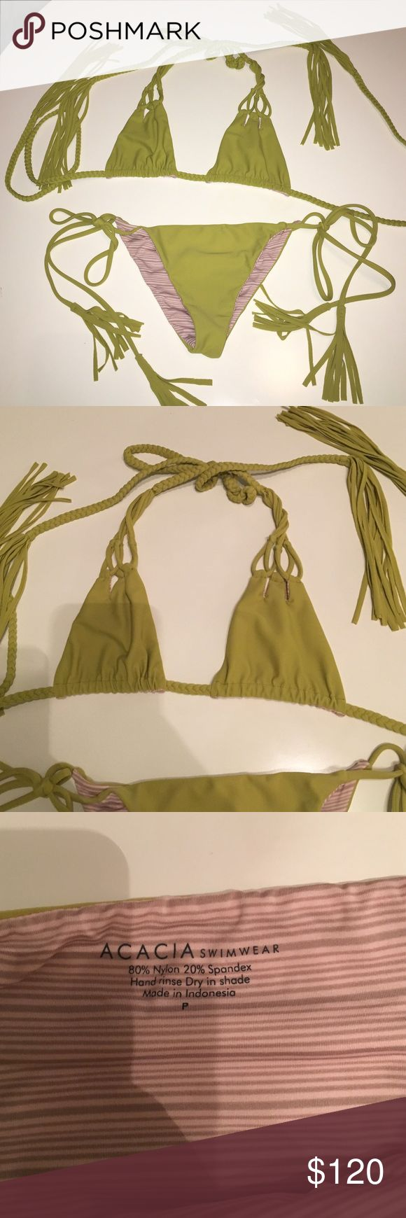 Acacia bikini set Adorable chartreuse color acacia bikini. Worn once. Bottom is size petite which is like x small and top is size small. Perfect condition. acacia swimwear Swim Bikinis