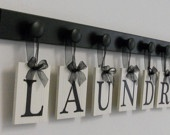 Laundry Room Wall Decor includes Wooden 9 Peg Hanger and LAUNDRY, Washboard and Bucket in Chocolate Brown. $45.00, via Etsy.