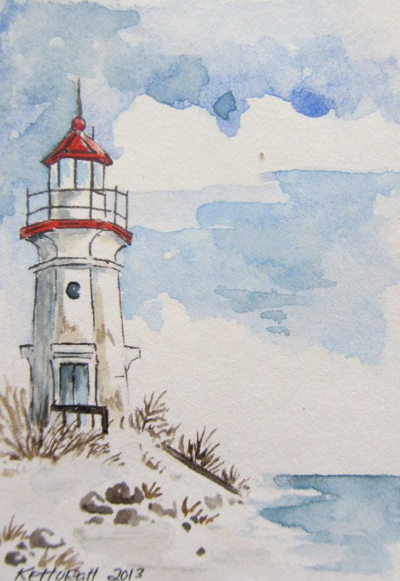 Großer See-Leuchtturm Aquarell ACEO, Artist Trading Card
