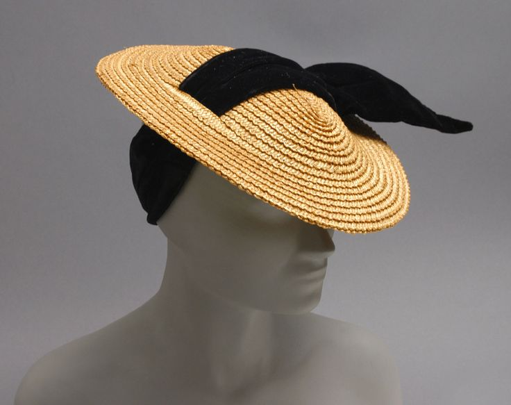 Woman's hat | United States, circa 1936 | Label: Bonwit Teller, Philadelphia | Materials: straw, black velvet ribbon | Philadelphia Museum of Art