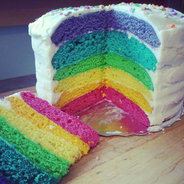 RAINBOW CAKE (lemon cake with a lemon buttercream) #rainbowcake #cake #rainbow