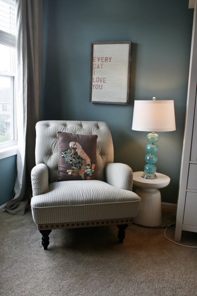 pier 1 chair  Recover arm chairs in ticking like this?: Lamps, Wall Colors, Living Rooms, Paintings Colors, Reading Corner, Reading Chairs, Master Bedrooms, Benjamin Moore, Corner Spaces
