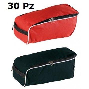 30 Porta Scarpe da Viaggio in Nylon formato 36 x 18. Colori Rosso, Nero, Misti