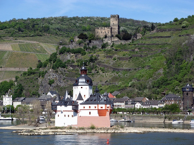 The Pfalz, in front and Burg Guntefels, on the hill, Germany