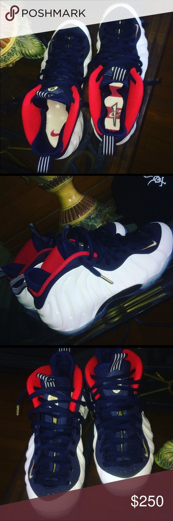 Nike foamposite white/navyblue/gold/red no box 9.5/10 condition worn 3x Nike Shoes Sneakers