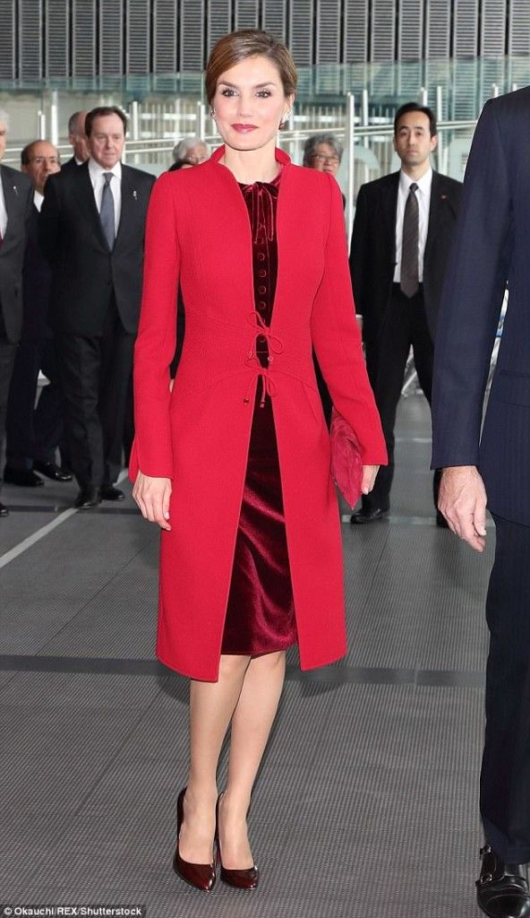 5 April 2017 - State Visit to Japan (day 2) - The Imperial Family welcome King Felipe and Queen Letizia - coat by Felipe Varela