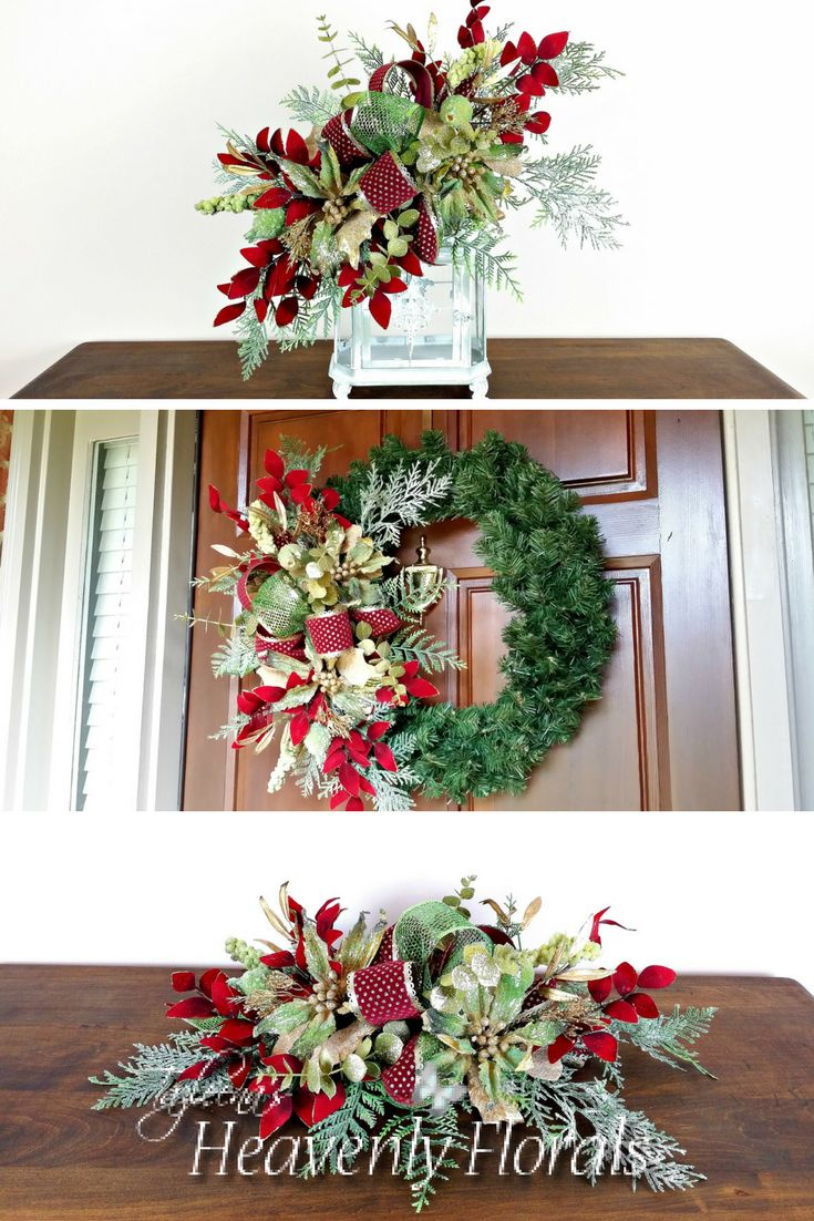 An elegant and versatile Christmas swag of green poinsettia, burgundy leaves and glittered fern.