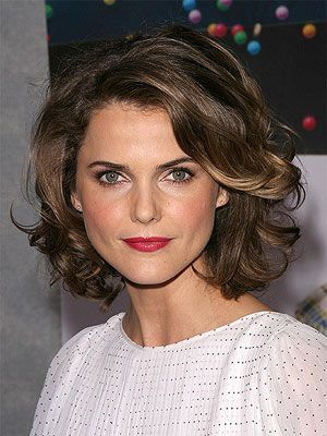 Keri Russell Curly Bob with Deep Side Part