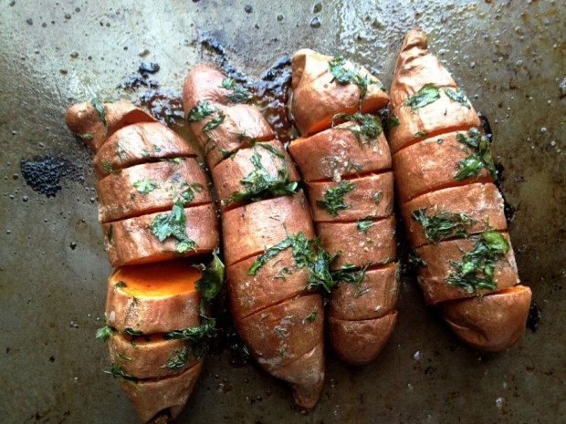 Accordion-style cutting: Then there's more room for the butter and dill to flavour these sweet taters.