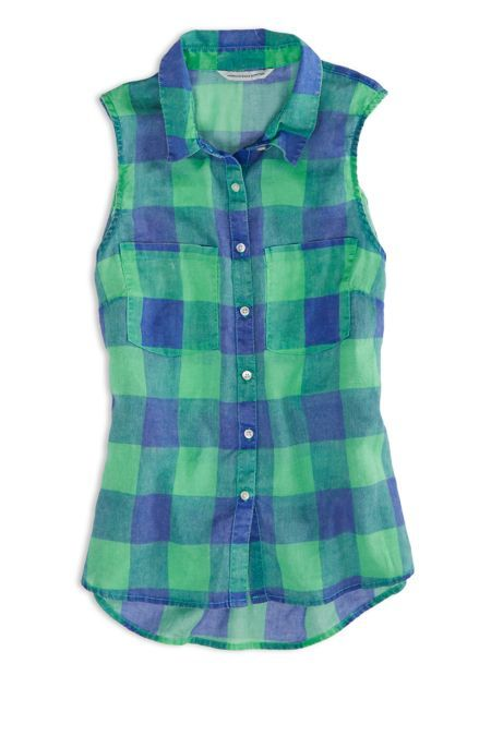 AEO Factory Sleeveless Plaid Shirt, Women's, Size: 2XL, Green ...