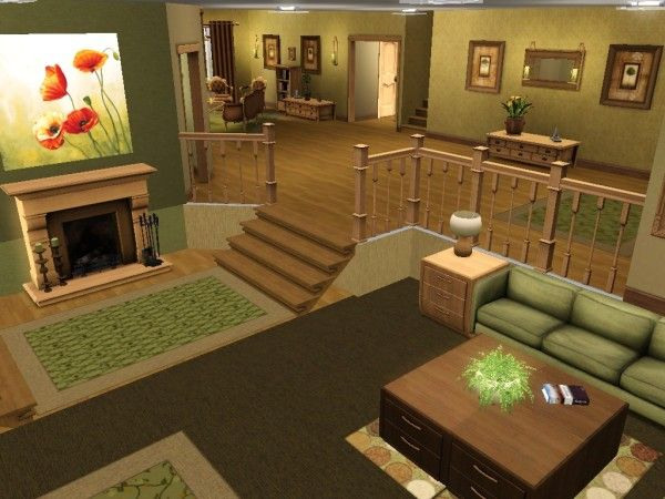Split level living room sims 3 and 4 houses pinterest for One bedroom living room ideas