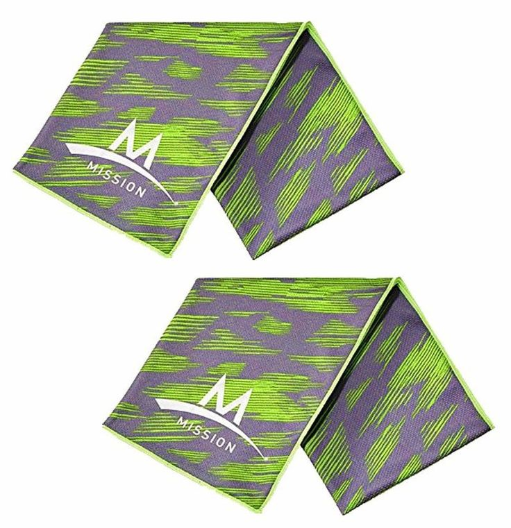 """Set of 2 Mission Enduracool 12"""" x 33"""" Cooling Towels, UPF 50 Cools Instantly When Wet (2 High Vis Green/Grey). Includes (2) Cooling Towels - Premium Tech Knit material. Lightweight & Breathable. Cools Instantly When Wet to 30 Degree below average body temperature. Wicks away sweat. Promotes moisture cirulation. Regulates evaporation to help cool. UPF 50 Sun Protection. Chemical-free, Reusable & Machine Washable. 92% Polyester & 8% Spandex. To activate cooling technology: Get it soaked…"""