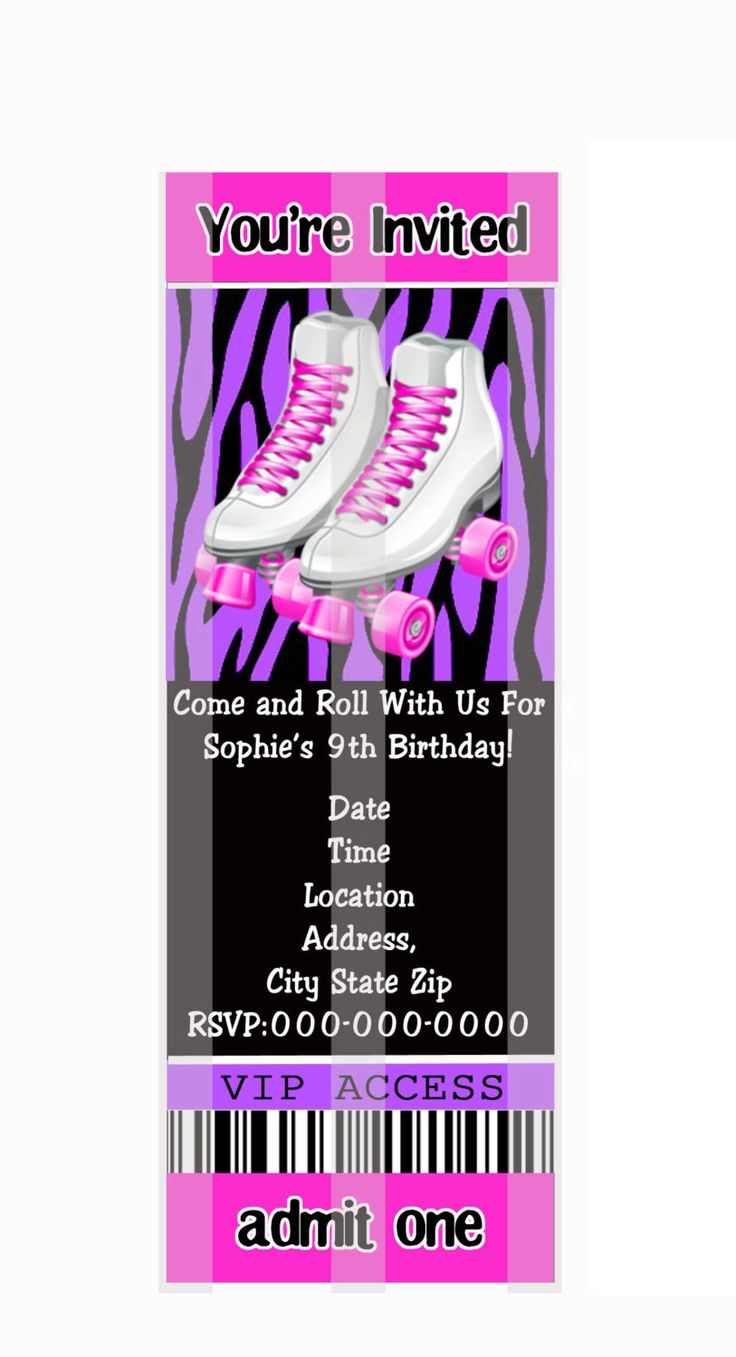 Roller skates invitations