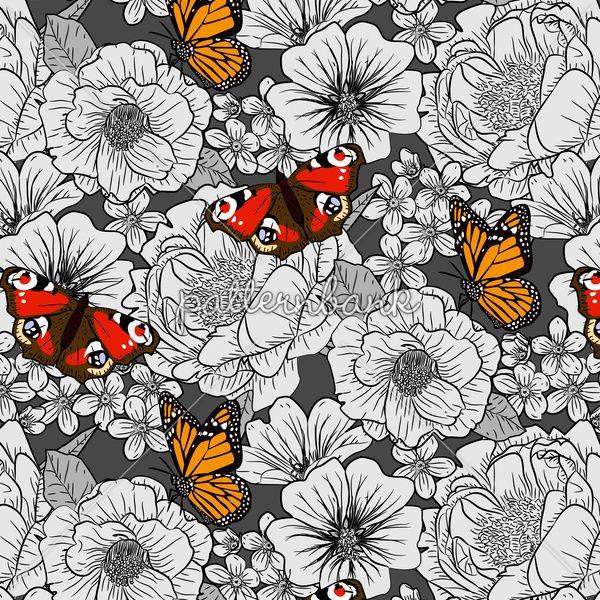 Bessie English Garden Floral With Butterflies