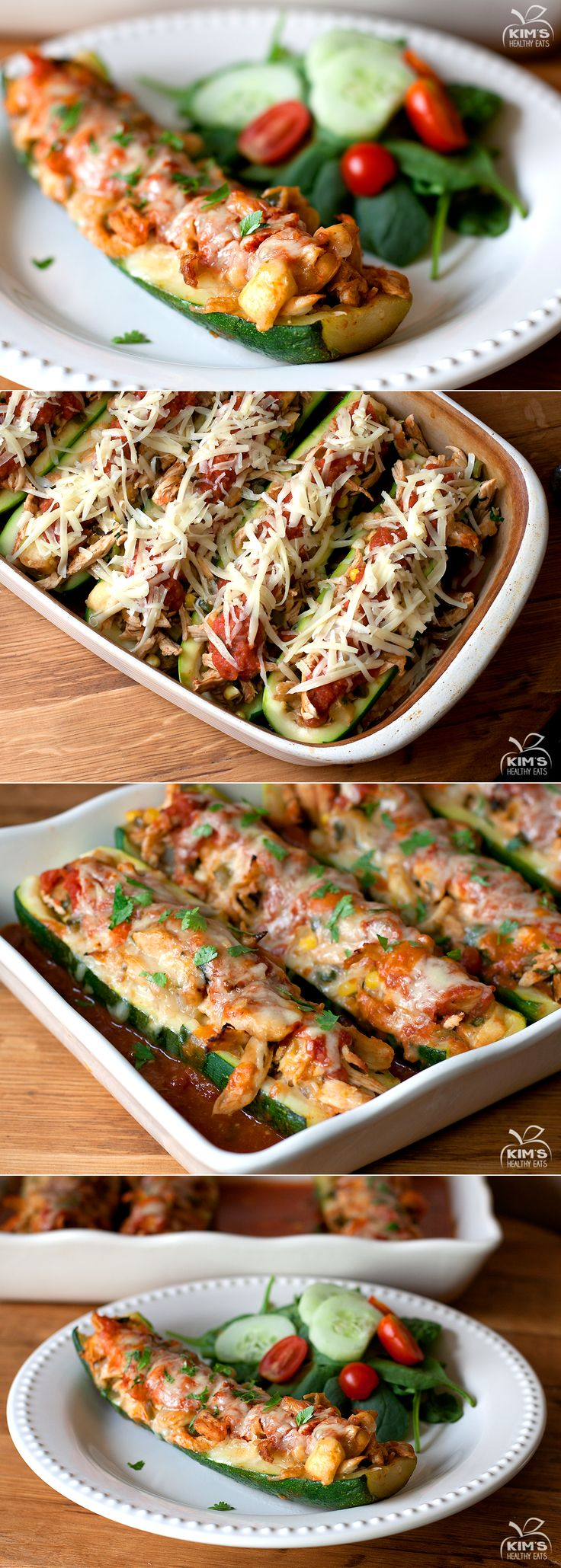 Chicken Enchilada Zucchini Boats. #recipes