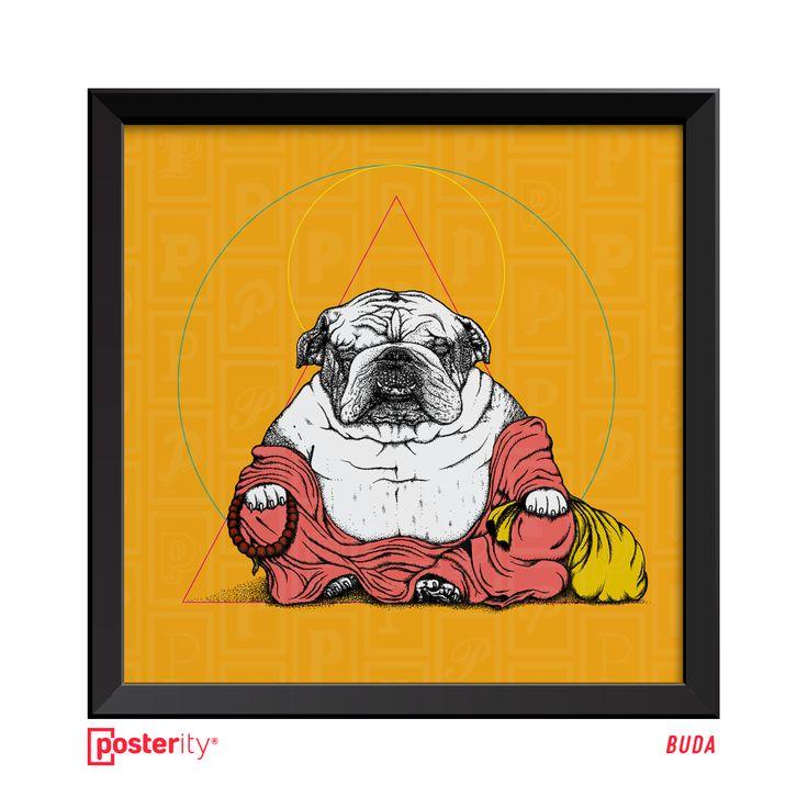 """Contempla nuestro nuevo póster """"Buda Dog"""" de Francisco Espiño. Creado con un detallado y paciente puntillismo, es un personaje que trae prosperidad, abundancia y alegría. En su mano derecha sostiene el Mala pasando por 108 cuentas para alcanzar el Nirvana y en su mano izquierda una bolsa de tela que contiene artículos valiosos, comida y dulces para los niños, cuyo contenido nunca se acaba. Serie limitada a 50 unidades.   Tamaños: 25x25cm - $30.000 - USD$50 50x50cm - $70.000 - USD$100"""
