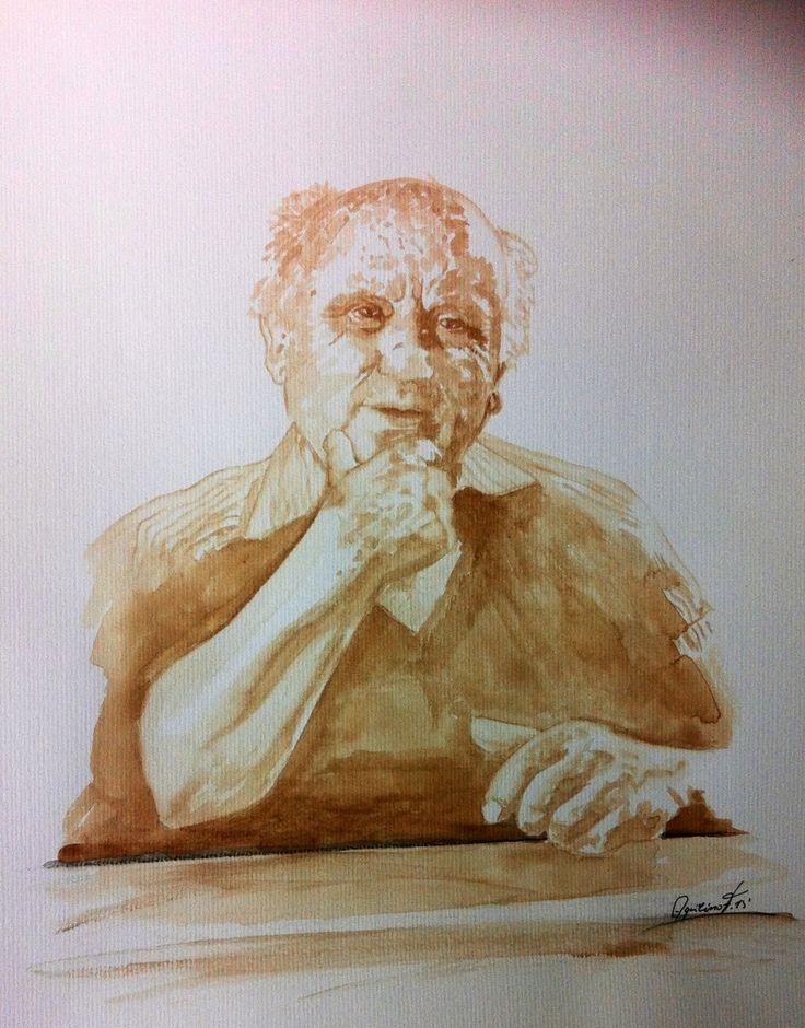 Manuel Cargaleiro pintado com café