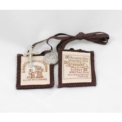 Brown Scapular with Jubilee Medal Cross of St. Benedict