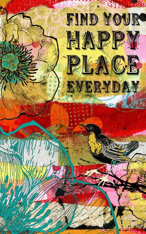 Inspirational Art Bird Flower Mixed Media Happy Place by jmdesign,: