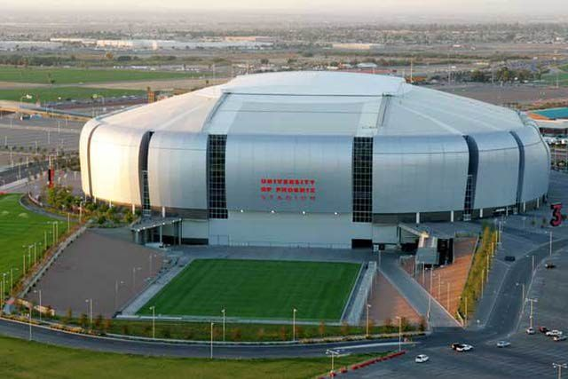 University of Phoenix Stadium in Glendale is the home of the Arizona Cardinals, the Fiesta Bowl and various trade shows and other events.