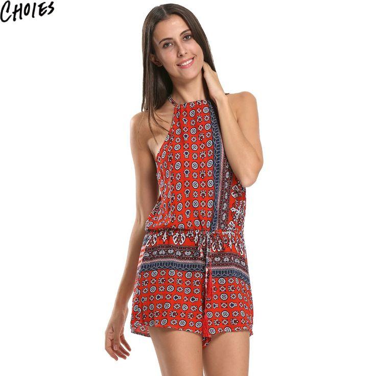 Women 2017 Summer Style Folk Prints Romper Red Blue Tribal Aztec Sleeveless Halter Playsuit Jumpsuits