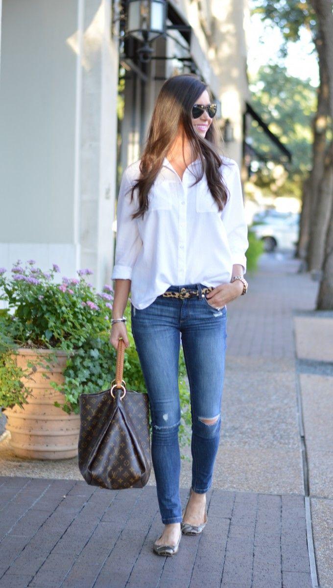 Outfit inspiration: slouchy white button down shirt, aviator sunglasses, leopard print calf hair belt, skinny distressed jeans, metallic ballets flats, oversize bag, pink lipstick and dark hair give depth to the ensemble of classic neutrals. Perfect outfit for transition between seasons...