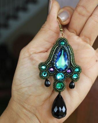 Bermuda Blue, Emerald Crystal Teardrop & Black Onyx Earrings