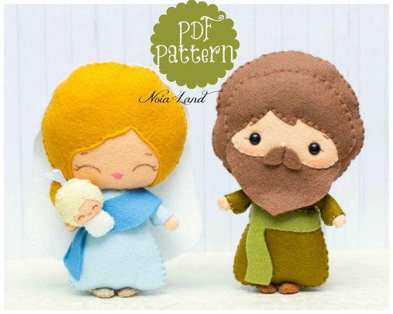 Este patrón de costura de PDF es un José, María y el bebé. Estas muñecas son cosidos a mano.  Tamaño: 7 de altura aproximadamente idioma: Inglés esto no