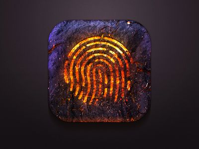 I like the spin on the finger ID icon from the iPhone. The messiness and color make it look organic and rocklike. Almost like an ancient symbol glowing on rock.