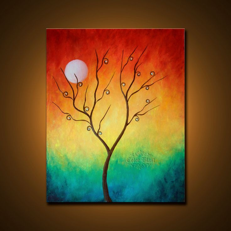 Original Oil Painting Colorful Abstract Landscape By Colorblast .
