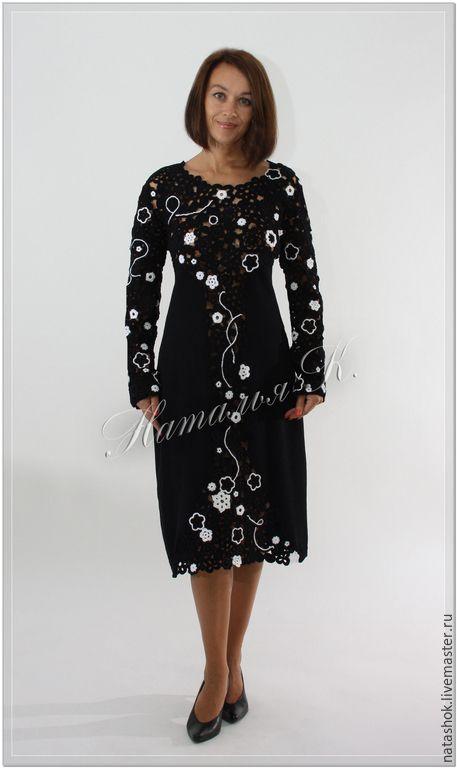 Купить Млечный путь - черный, платье, Платье нарядное, платье вязаное, платье коктейльное
